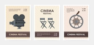 Bundle of vertical flyer or poster templates with retro camera, director and producer chairs, film reel and place for. Text. Colorful flat vector illustration royalty free illustration