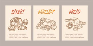 Bundle of vertical flyer or poster templates with tasty breads, sweet delicious pastry or homemade baked products royalty free illustration