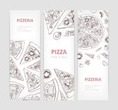 Bundle of vertical web banner templates with delicious classical pizza hand drawn with contour lines and place for text. On white background. Realistic vector stock illustration