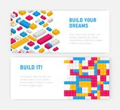 Bundle of web banner templates with plastic construction details, interlocking toy bricks, building blocks, parts or royalty free illustration