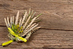 Bundle of wheat with flower and band Royalty Free Stock Images