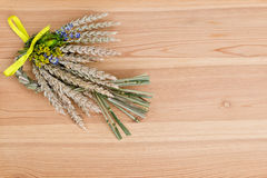 Bundle of wheat with flower and band Stock Images