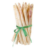 Bundle of white asparagus with green ribbon. Asparagus isolated on white background Royalty Free Stock Photography