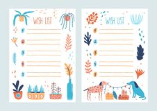 Bundle of wish list templates decorated by potted plants, branches with leaves, pair of cute dogs holding flag garland. Present boxes. Set of cards with vector illustration