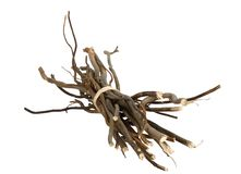 Bundle of wooden twigs isolated on white stock photos