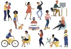 Bundle of young men and women are engaged in various activities and hobbies - walking dogs, riding bicycle, skateboarding, working. At a laptop, enjoying dance vector illustration