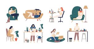 Bundle of young men and women spending weekend at home - playing guitar, eating sushi, reading books, surfing internet stock illustration