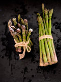 Bundled asparagus directly above Royalty Free Stock Photos