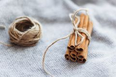Bundled dried cinnamon sticks. On gray knitted background stock photos