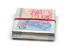 A bundled up stack of singapore dollars Stock Images