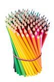 Bundled upright wooden colour pencils Stock Image