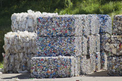 Bundles of Aluminum Cans. RHINELANDER, WI - AUGUST 27:  Bundles of Aluminum Cans at the Oneida County Landfill on August 27, 2011 in Rhinelander, Wisconsin Stock Photos