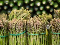 Bundles of asparagus on display at market Royalty Free Stock Photography