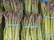 Bundles of Asparagus. Selling at Market Royalty Free Stock Photos