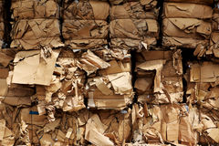 Bundles of cardboard ready for transport stock photos