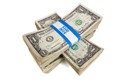 Bundles of Cash Stacked Royalty Free Stock Photos