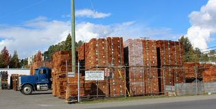Bundles of Cedar Shakes. Stacked ready for shipping in Anglo-American Cedar Products yard at Mission British Columbia. Attractive contrast between cedar product Stock Images