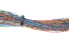 Bundles of colorful network cables. Isolated on white background Royalty Free Stock Photos