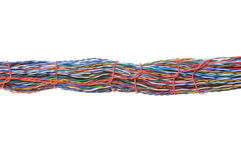Bundles of colorful network cables. Isolated on white background Stock Image