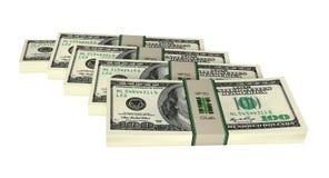 Bundles of 100 Dollar Banknotes. 100 Dollar Banknotes - 3D Rendering stock illustration