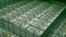 Bundles of 100 dollar bills in a big stronbox. A heartbreaking 3d illustration of 100 dollar bills placed in bundles in a big bank depository. On the observe of vector illustration