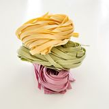 Bundles of dried ribbon color  pasta Royalty Free Stock Photography