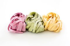 Bundles of dried ribbon color  pasta Royalty Free Stock Image