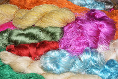 Bundles of hand made colorful thread. Thai silk Royalty Free Stock Photography