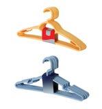 Bundles Hanger. Two bundles of hangers, plastic.  isolated on white Stock Photo