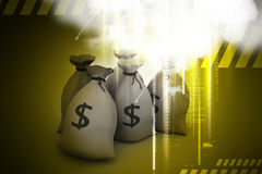 Bundles of money in bags. In color background Stock Photography
