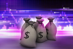 Bundles of money in bags. In color background Royalty Free Stock Photos