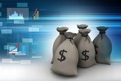Bundles of money in bags. 3d illustration of Bundles of money in bags Stock Images