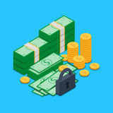 Bundles of money and banknotes of dollars and coins with lock Royalty Free Stock Photography