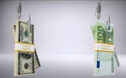 Bundles of money on fish-hooks Royalty Free Stock Photos
