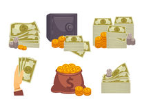Bundles of money and stacks of coins illustrations set Royalty Free Stock Photography