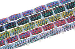 Bundles of network cables. With cable ties Royalty Free Stock Images