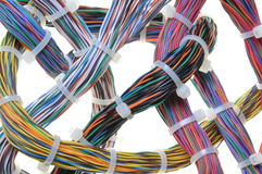 Bundles of network cables Stock Photo