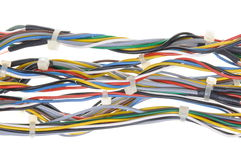 Bundles of network cables with cable ties Royalty Free Stock Images