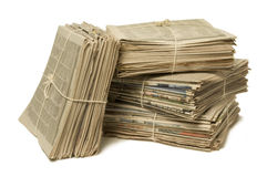 Bundles of newspapers for recycling. Bundles of bound newspapers for recycling Stock Photo
