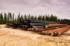 Bundles of oil well casing Royalty Free Stock Image