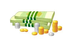 Bundles of paper money and coins Royalty Free Stock Photos