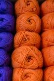 Bundles of Purple and Orange Wool Stock Photo