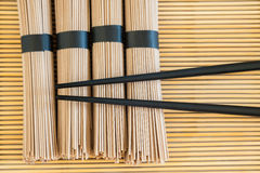 Bundles of soba noodles Stock Photos
