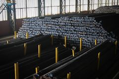 Steel rebars in the factory. Bundles of steel rebar ready for construction in the iron factory royalty free stock photo
