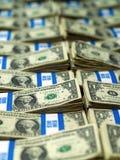 Bundles of U.S. One Dollar Bills. Hundred dollar bundles of U.S. One Dollar bill laid out as a background Stock Photo