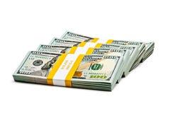 Bundles of 100 US dollars 2013 banknotes bills Royalty Free Stock Photo