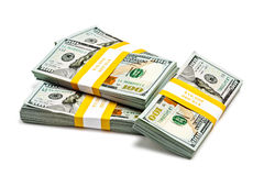 Bundles of 100 US dollars 2013 banknotes bills Stock Photography