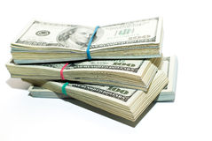 Bundles of US dollars banknotes on a white background Stock Image