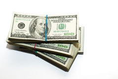 Bundles of US dollars banknotes on a white background Royalty Free Stock Photography