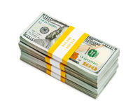 Bundles of 100 US dollars 2013 edition banknotes Royalty Free Stock Photo